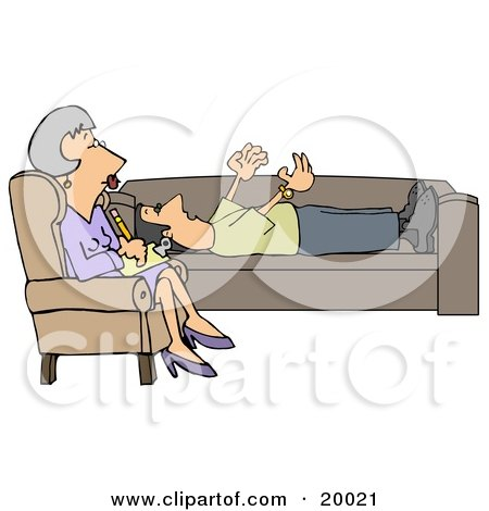 Clipart Illustration of a Patient Middle Aged Caucasian Woman, A Counselor, In A Purple Dress, Seated Cross Legged In A Chair While Listening To Her Client Vent About His Problems As He Lays On A Sofa In Her Office by djart