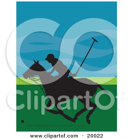 Clipart Illustration of a Silhouetted Polo Player Guy On A Galloping Horse, Against A Blue And Green Background by Maria Bell