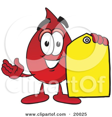Clipart Picture of a Blood Drop Mascot Cartoon Character Holding a Yellow Sales Price Tag  by Toons4Biz