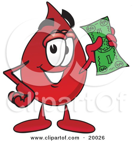 Clipart Picture of a Blood Drop Mascot Cartoon Character Holding a Dollar Bill  by Toons4Biz