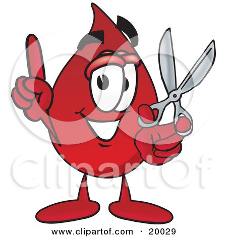 Clipart Picture of a Blood Drop Mascot Cartoon Character Holding a Pair of Scissors by Toons4Biz