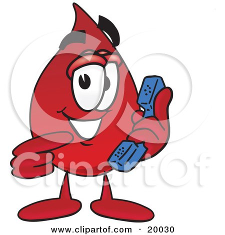 Clipart Picture of a Blood Drop Mascot Cartoon Character Holding a Telephone by Toons4Biz