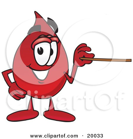 Clipart Picture of a Blood Drop Mascot Cartoon Character Holding a Pointer Stick by Toons4Biz
