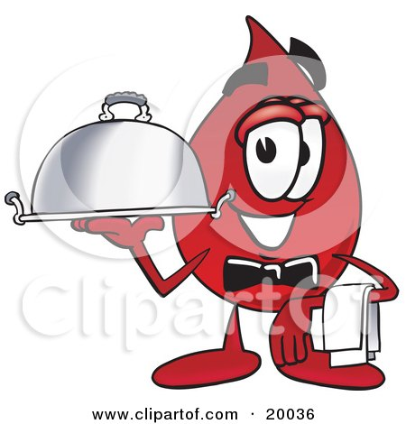 Clipart Picture of a Blood Drop Mascot Cartoon Character Dressed as a Waiter and Holding a Serving Platter by Toons4Biz