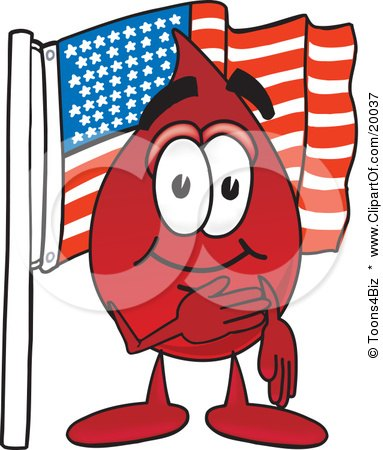 Clipart Picture of a Blood Drop Mascot Cartoon Character Pledging Allegiance to an American Flag by Toons4Biz