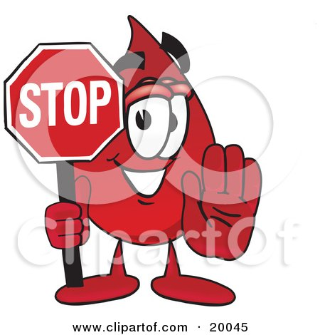 Clipart Picture of a Blood Drop Mascot Cartoon Character Holding a Stop Sign  by Toons4Biz