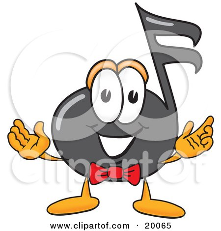 Clipart Picture of a Music Note Mascot Cartoon Character With Welcoming Open Arms by Toons4Biz