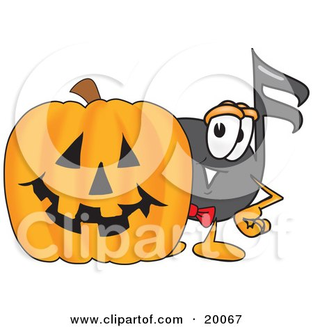Clipart Picture of a Music Note Mascot Cartoon Character With a Carved Halloween Pumpkin  by Toons4Biz