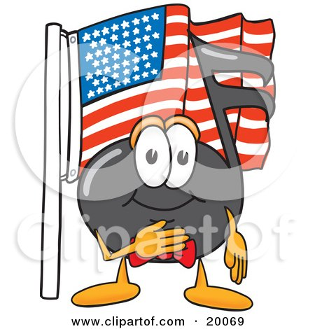 Clipart Picture of a Music Note Mascot Cartoon Character Pledging Allegiance to an American Flag by Toons4Biz