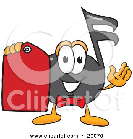 Clipart Picture of a Music Note Mascot Cartoon Character Holding a Red Sales Price Tag  by Toons4Biz