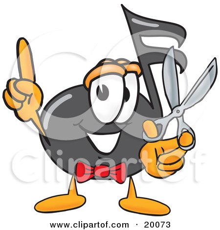 Clipart Picture of a Music Note Mascot Cartoon Character Holding a Pair of Scissors by Toons4Biz