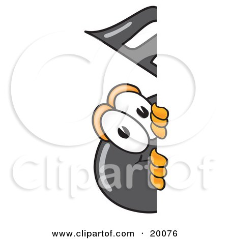 Clipart Picture of a Music Note Mascot Cartoon Character Peeking Around a Corner by Toons4Biz