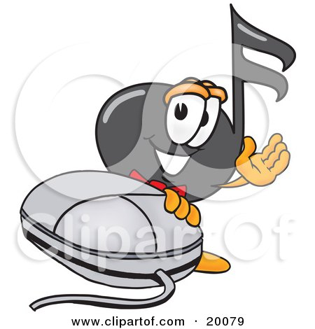 Clipart Picture of a Music Note Mascot Cartoon Character With a Computer Mouse by Toons4Biz