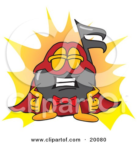 Clipart Picture of a Music Note Mascot Cartoon Character Dressed as a Super Hero by Toons4Biz