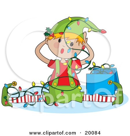 Clipart Illustration of a Confused Elf Tangled In Unorganized Christmas Lights by Maria Bell
