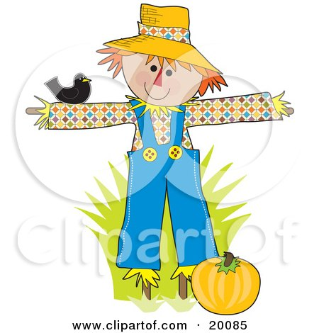 Black bird resting on a happy scarecrows arm as he guards a pumpking