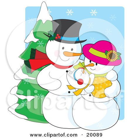 Clipart Illustration of a Happy Snow People Family Of A Snowman, Snow Woman And Snow Baby, Standing Outside On A Snow Winter Day by Maria Bell