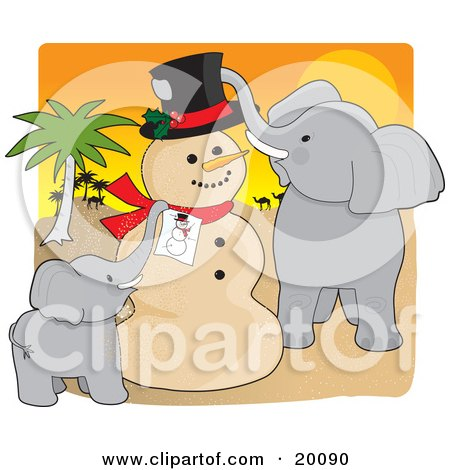 Clipart Illustration of a Cute Elephant Family Creating A Sand Man Resembling A Picture Of A Snowman For Christmas In The Sahara by Maria Bell