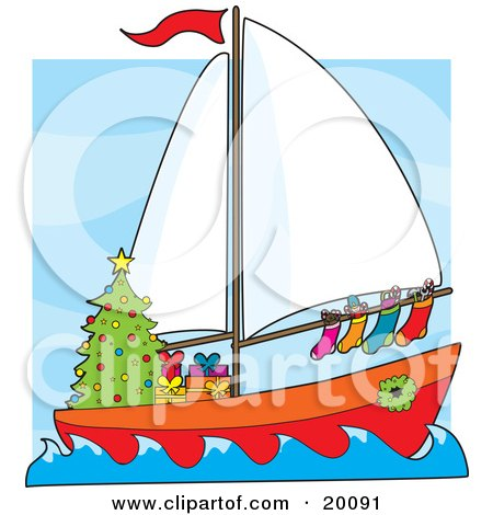 Clipart Illustration of a Humorous Scene Of A Sailing Sailboat With Hung Stockings, A Wreath Around The Window And Gifts Under A Christmas Tree by Maria Bell