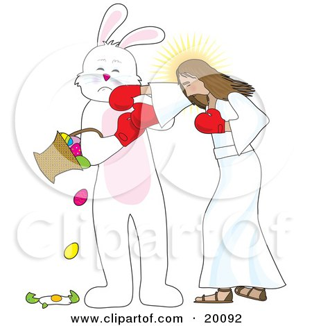Clipart Illustration of Jesus Boxing With The Easter Bunny, Socking Him In The Face As He Spills And Breaks Eggs From A Basket by Maria Bell