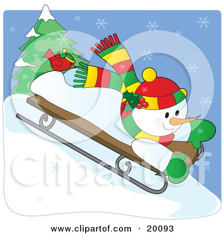 Clipart Illustration of a Happy Snowman In A Colorful Hat And Scarf, Riding Downhill On A Sled On A Snowy Winter Day With A Red Cardinal Bird On His Foot by Maria Bell