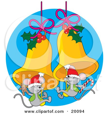 Cute Pair Of Gray Christmas Mice Wearing Santa Hats And Holding Gingerbread Cookies And Candy Canes While Swinging On Golden Jingle Bells Decorated With Holly Posters, Art Prints