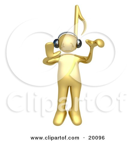 Clipart Illustration of a Golden Person With A Music Note Head, Listening To Tunes Through Headphones by 3poD