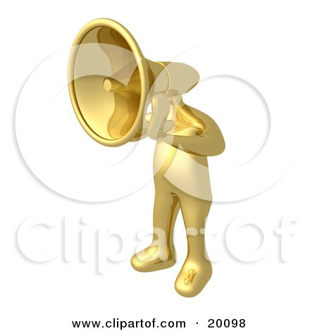 Clipart Illustration of a Gold Person With A Megaphone Head Shouting Orders Or Announcements by 3poD