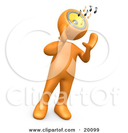 Clipart Illustration of an Orange Person Holding Its Hands Near Its Speaker Head While Blasting Loud Music And Notes by 3poD