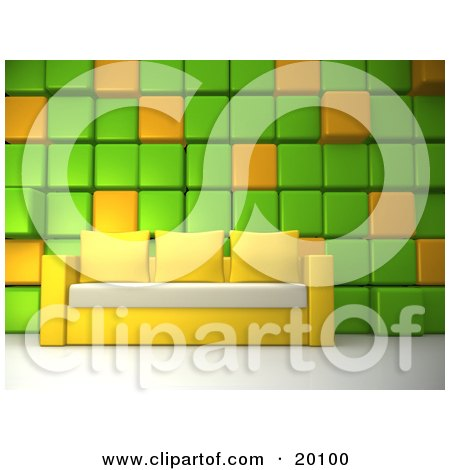 Clipart Illustration of a Yellow Couch With Three Pillows And A White Seat, Against A Green And Orange Cubed Wall In A Living Room Or Office Lobby by 3poD