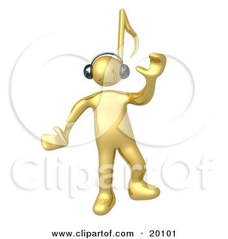 Happy Golden Person With A Music Note Head, Dancing While Listening To Tunes Through Headphones Posters, Art Prints