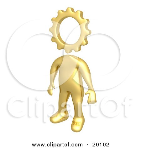 Clipart Illustration of a Creative Cog Headed Golden Person by 3poD