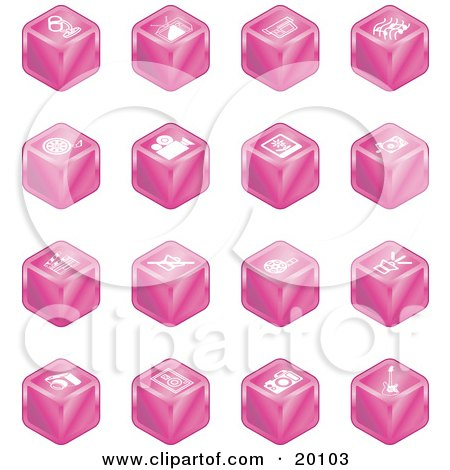 Clipart Illustration of a Collection Of Pink Cube Icons Of A Microphone, Tv, Cam Corder, Music Notes, Film Reel, Film Camera, Polaroid Picture, Record Player, Clapboard, Sound Off, Sound On, Film, Speaker, And Guitar by AtStockIllustration