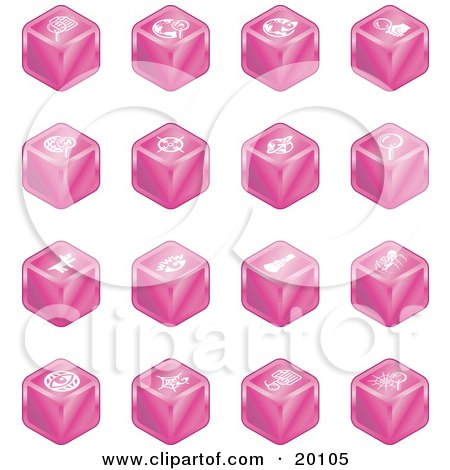 Clipart Illustration of a Collection Of Pink Cube Icons Of Searches, View Finders, Www, Magnifying Glasses, Dogs, Flashlight, And Spider by AtStockIllustration