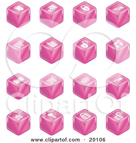 Clipart Illustration of a Pink Cube Icons Of A Fortress, Brick Wall, Padlocks, Shopping Cart, Castle, Basket, Credit Card, And Key by AtStockIllustration
