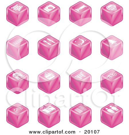 Clipart Illustration of a Collection Of Pink Cube Icons Of Tickets, Camera, Bed, Hotel, Bus, Restaurant, Moon, Tree, Building, Shopping Bags, Shopping Cart, Bike, Wine Glasses, Luggage, Train Tracks, Road, And Restrooms by AtStockIllustration