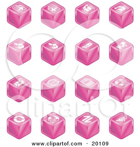 Clipart Illustration of a Collection Of Pink Cube Icons Of Page Forward, Page Back, Upload, Download, Email, Snail Mail, Envelope, Refresh, News, Www, Home Page, And Information by AtStockIllustration