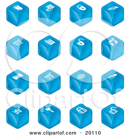 Clipart Illustration of a Blue Cube Icons Of A Fortress, Brick Wall, Padlocks, Shopping Cart, Castle, Basket, Credit Card, And Key by AtStockIllustration