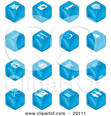 Clipart Illustration of a Collection Of Blue Cube Icons Of Tickets, Camera, Bed, Hotel, Bus, Restaurant, Moon, Tree, Building, Shopping Bags, Shopping Cart, Bike, Wine Glasses, Luggage, Train Tracks, Road, And Restrooms by AtStockIllustration