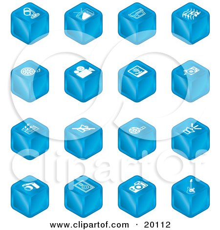 Clipart Illustration of a Collection Of Blue Cube Icons Of A Microphone, Tv, Cam Corder, Music Notes, Film Reel, Film Camera, Polaroid Picture, Record Player, Clapboard, Sound Off, Sound On, Film, Speaker, And Guitar by AtStockIllustration