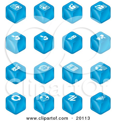 Clipart Illustration of a Collection Of Blue Cube Icons Of Page Forward, Page Back, Upload, Download, Email, Snail Mail, Envelope, Refresh, News, Www, Home Page, And Information by AtStockIllustration