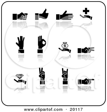 Clipart Illustration of a Collection Of Black Silhouetted Hands Gesturing On A White Background by AtStockIllustration