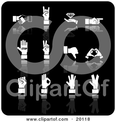 Clipart Illustration of a Collection Of White Handshake, Diamond, Pointing, Stop, Peace, Thumbs Down, Love, And Ok Hand Gestures by AtStockIllustration