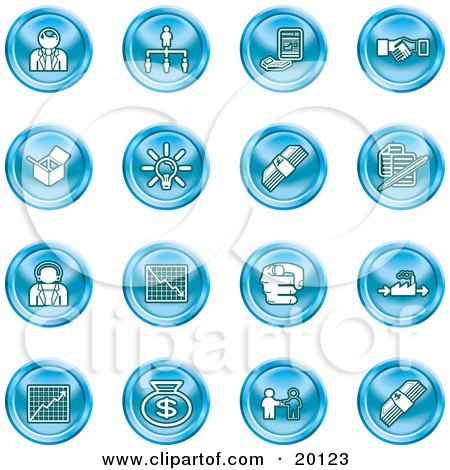 Clipart Illustration of a Collection Of Blue Business Icons Of Business People, Management, Hand Shake, Lightbulb, Cash, Charts, And Money Bags by AtStockIllustration