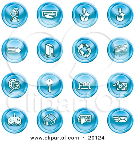 Clipart Illustration of a Collection of Blue Entertainment Icons Of A Microphone, Disc, Upload, Download, Credit Card, Computer, Telephone, Spider, Searching, Key, Faq, Record Player, Controller, Home, Typing And Email by AtStockIllustration