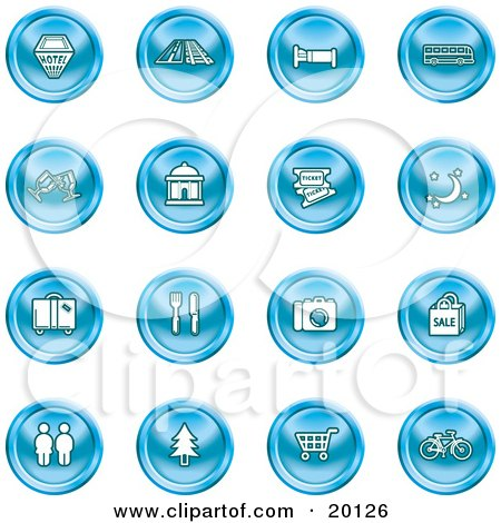 Clipart Illustration of a Collection Of Blue Icons Of A Hotel, Road By Train Tracks, Bed, Bus, Wine Glasses, Tickets, Moon, Luggage, Diner, Camera, Shopping, Restrooms, Tree, Shopping Carts And Bicycle by AtStockIllustration