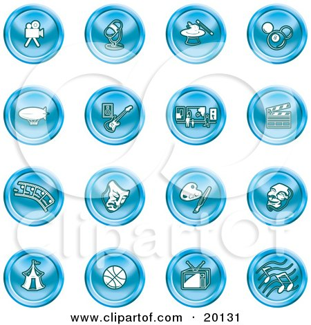 Clipart Illustration of a Collection Of Blue Entertainment Icons Of A Video Camera, Microphone, Magic Trick, Billiards, Blimp, Electric Guitar, Museum, Clapboard, Film Strip, Theatre Mask, Painting, Circus Tent, Basketball, Tv, And Music by AtStockIllustration