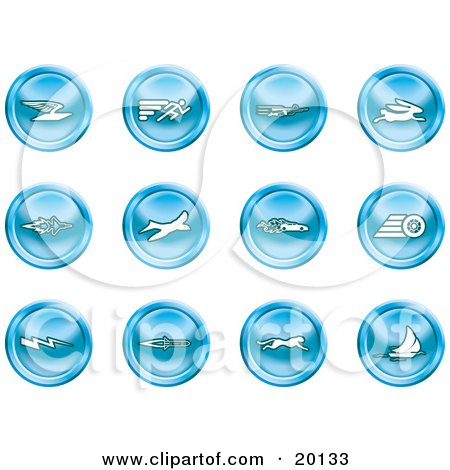 Clipart Illustration of a Collection Of Blue Speed Icons Of Email, Runner, Super Hero, Rabbit, Jet, Bird, Race Car, Tire, Lightning Bolt, Rocket, Cheetah And Sailboat by AtStockIllustration