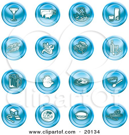 Clipart Illustration of a Collection Of Blue Food Icons Of A Martini, Pigs, Fish, Juice, Kebobs, Corn, Wine, Beer, Chicken, Breakfast, Fruit, Bread, Meal, Burger And Cheese by AtStockIllustration