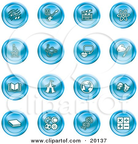 Clipart Illustration of a Collection Of Blue Icons Of Music Notes, Guitar, Clapperboard, Atom, Microscope, Atoms, Messenger, Painting, Book, Circus Tent, Globe, Masks, Sports Balls, And Math by AtStockIllustration